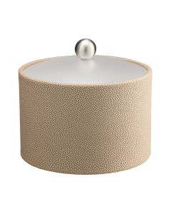 MESA Ice Bucket w/ Acrylic Cover w/ Brushed Stainless Ball Knob: SHAGREEN FAWN