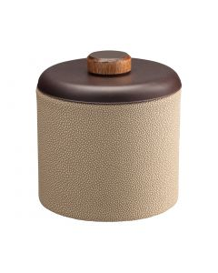 1qt Ice Bucket w/ Dome Material w/ Brown Wood Disk: SHAGREEN FAWN