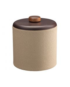 2qt Ice Bucket w/ Dome Material w/ Brown Wood Disk: SHAGREEN FAWN