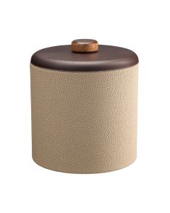 3qt Ice Bucket w/ Dome Material w/ Brown Wood Disk: SHAGREEN FAWN