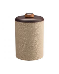 Tall Ice Bucket w/ Dome Material w/ Brown Wood Disk: SHAGREEN FAWN