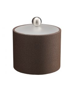 1qt Ice Bucket w/ Acrylic Cover w/ Brushed Stainless Ball Knob: SHAGREEN CHOCOLATE
