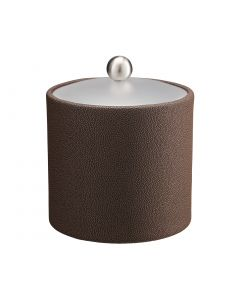 2qt Ice Bucket w/ Acrylic Cover w/ Brushed Stainless Ball Knob: SHAGREEN CHOCOLATE
