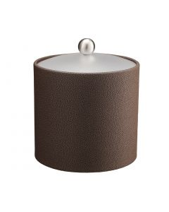 3qt Ice Bucket w/ Acrylic Cover w/ Brushed Stainless Ball Knob: SHAGREEN CHOCOLATE