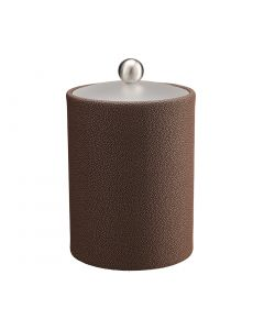 TALL Ice Bucket w/ Acrylic Cover w/ Brushed Stainless Ball Knob: SHAGREEN CHOCOLATE