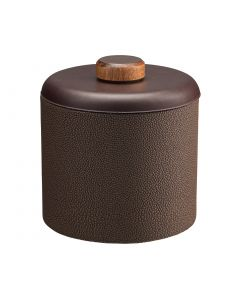 1qt Ice Bucket w/ Dome Material w/ Brown Wood Disk: SHAGREEN CHOCOLATE