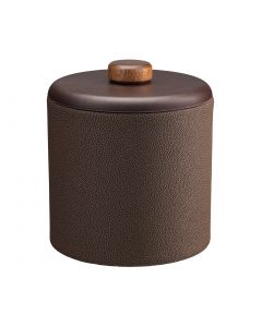 2qt Ice Bucket w/ Dome Material w/ Brown Wood Disk: SHAGREEN CHOCOLATE