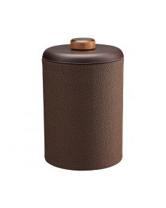 Tall Ice Bucket w/ Dome Material w/ Brown Wood Disk:  SHAGREEN CHOCOLATE