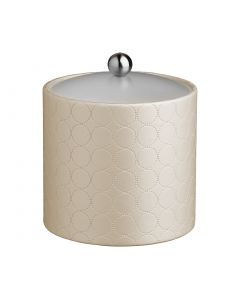 3qt Ice Bucket w/ Acrylic Cover & Brushed Stainless Astro Knob: MAD MEN EGGSHELL