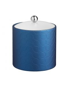 2qt Ice Bucket w/ Acrylic Cover & Brushed Stainless Astro Knob: MAD MEN SAPPHIRE