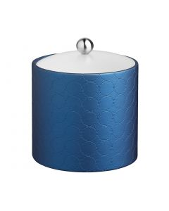 3qt Ice Bucket w/ Acrylic Cover & Brushed Stainless Astro Knob: MAD MEN SAPPHIRE