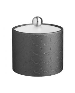 1qt Ice Bucket w/ Acrylic Cover & Brushed Stainless Astro Knob: MAD MEN CHARCOAL