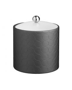 2qt Ice Bucket w/ Acrylic Cover & Brushed Stainless Astro Knob: MAD MEN CHARCOAL