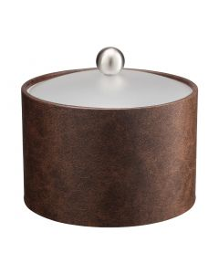 MESA Designer Brown  Ice Bucket w/ Acrylic Cover & Brushed Stainless Ball Knob