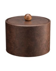 MESA Designer Brown Ice Bucket w/ Material Cover w/ Brown Wood Ball Knob