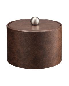MESA Ice Bucket w/ Material Cover w/  Brushed Stainless Ball Knob  -Designer Brown