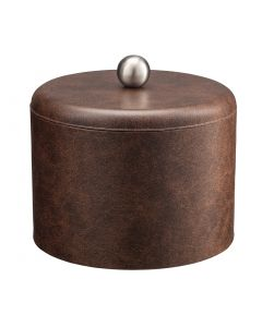 MESA Designer Brown Ice Bucket w/ Dome Material Cover w/  Brushed Stainless Ball Knob