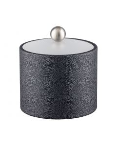 1qt Ice Bucket w/ Acrylic Cover w/ Brushed Stainless Ball Knob: SHAGREEN ABYSS