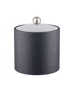 2qt Ice Bucket w/ Acrylic Cover w/ Brushed Stainless Ball Knob: SHAGREEN ABYSS