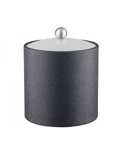 3qt Ice Bucket w/ Acrylic Cover w/ Brushed Stainless Ball Knob: SHAGREEN ABYSS