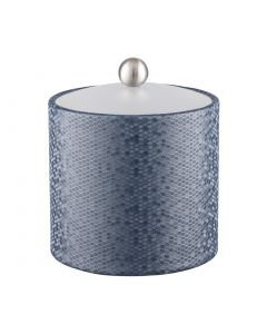 Honeycomb 2qt Ice Bucket w/ Acrylic Cover & Brushed Stainless Ball Knob: GRAPHITE BLUE