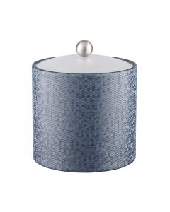 Honeycomb 3qt Ice Bucket w/ Acrylic Cover & Brushed Stainless Ball Knob: GRAPHITE BLUE