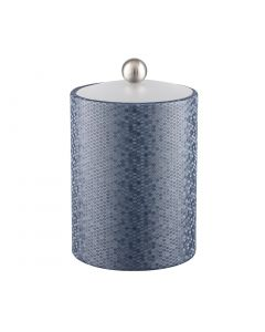 Honeycomb Tall Ice Bucket w/ Acrylic Cover & Brushed Stainless Ball Knob: GRAPHITE BLUE