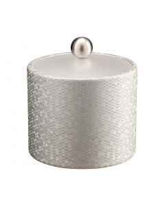 Honeycomb 1qt Ice Bucket w/ Acrylic Cover & Brushed Stainless Ball Knob: SILVER