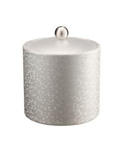 Honeycomb 2qt Ice Bucket w/ Acrylic Cover & Brushed Stainless Ball Knob: SILVER
