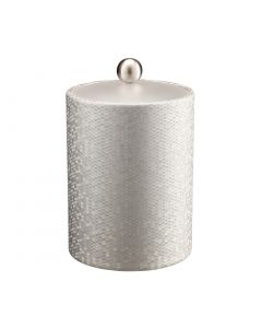 Honeycomb Tall Ice Bucket w/ Acrylic Cover & Brushed Stainless Ball Knob: SILVER