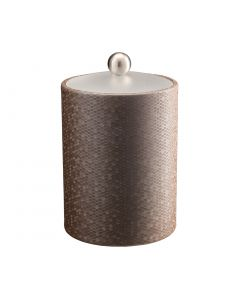 Honeycomb Tall Ice Bucket w/ Acrylic Cover & Brushed Stainless Ball Knob: LATTE