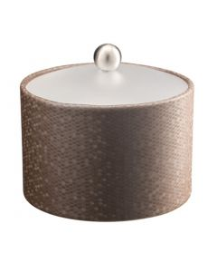 Honeycomb Mesa Ice Bucket w/ Acrylic Cover & Brushed Stainless Ball Knob: LATTE