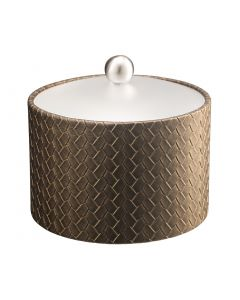 Mesa Ice Bucket w/ Acrylic Cover & Brushed Stainless Ball Knob: SAN REMO PYRITE