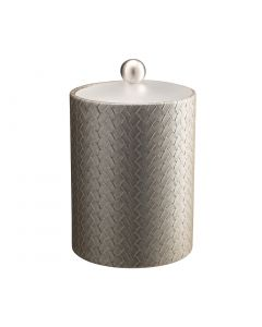 TALL Ice Bucket w/ Acrylic Cover & Brushed Stainless Ball Knob: SAN REMO PATINA
