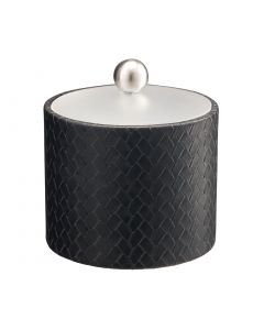 1qt Ice Bucket w/ Acrylic Cover & Brushed Stainless Ball Knob: SAN REMO BLACK