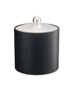 2qt Ice Bucket w/ Acrylic Cover & Brushed Stainless Ball Knob: SAN REMO BLACK