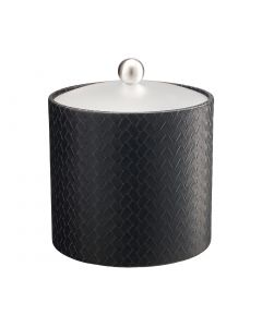 3qt Ice Bucket w/ Acrylic Cover & Brushed Stainless Ball Knob: SAN REMO BLACK