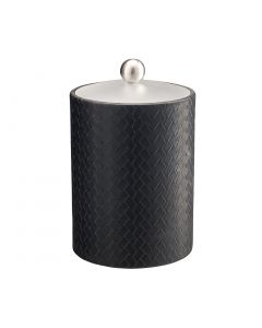 TALL Ice Bucket w/ Acrylic Cover & Brushed Stainless Ball Knob: SAN REMO BLACK
