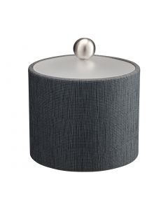 1qt Ice Bucket w/ Acrylic Cover & Brushed Stainless Ball Knob: LINEN CHARCOAL