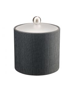 2qt Ice Bucket w/ Acrylic Cover & Brushed Stainless Ball Knob: LINEN CHARCOAL