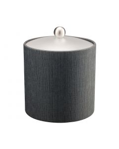 3qt Ice Bucket w/ Acrylic Cover & Brushed Stainless Ball Knob: LINEN CHARCOAL