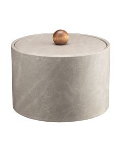 MESA Slate Grey Ice Bucket w/ Material Cover w/ Brown Wood Ball Knob