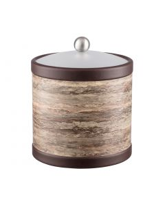 3qt Ice Bucket w/ Acrylic Cover w/ Brushed Stainless Ball Knob: QUARRY BROWN STONE