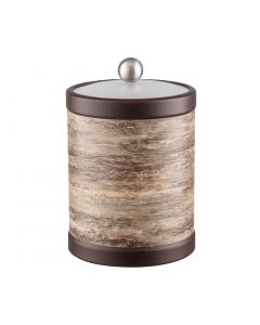 TALL Ice Bucket w/ Acrylic Cover w/ Brushed Stainless Ball Knob: QUARRY BROWN STONE