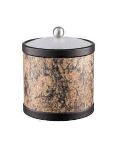 3qt Ice Bucket w/ Acrylic Cover w/ Brushed Stainless Ball Knob: QUARRY RUSSET STONE