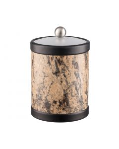 TALL Ice Bucket w/ Acrylic Cover w/ Brushed Stainless Ball Knob: QUARRY RUSSET STONE