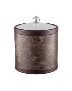 3qt Ice Bucket w/ Acrylic Cover w/ Brushed Stainless Ball Knob: QUARRY TUNISIA STONE