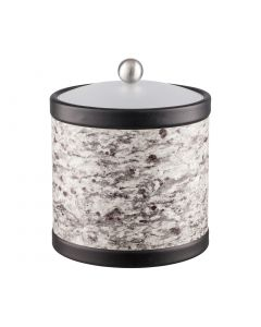 3qt Ice Bucket w/ Acrylic Cover w/ Brushed Stainless Ball Knob: QUARRY AMARILLO STONE