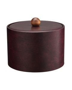 MESA Designer Claret Ice Bucket w/ Material Cover w/ Brown Wood Ball Knob