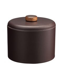 MESA Plus Ice Bucket w/ Dome Material Cover w/ Brown Wood Disk Knob - Chocolate